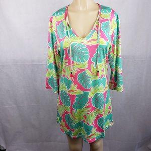 Viv & Lou Green Pink Leaf Dress